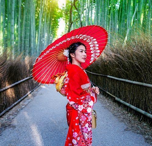 happy woman love geisha perfect